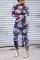 Fashion Sexy Print Sheer Purple Dress