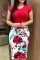 Fashion Sexy Print Red Short Sleeve Dress