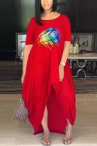 Fashion Printing Red Loose Irregular Dress