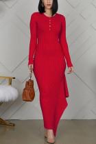 Fashion Long Sleeve Red Skinny Dress