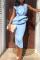 Fashion Sexy Light Blue Sleeveless Dress