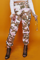 Casual Mid Waist Camouflage Printed Pink Cotton Pants