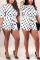 Fashion Sexy Printed White Short Sleeve Romper