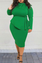 Fashion Sexy Long Sleeve Green Plus Size Dress