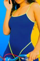 Sexy Fashion Stitching Blue Sleeveless Romper