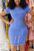 Fashion Short Sleeve Light Blue Denim Dress