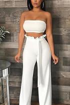 Fashion Sexy Sleeveless Top Trousers White Set