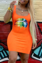Sexy Lip Print Orange Sleeveless Dress