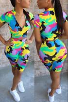 Fashion Camouflage Print T-shirt Shorts Colorful Set