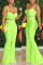Fashion Sexy Sling Top Wide Leg Pants Green Set