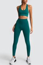 Sexy Fashion Sleeveless Dark Green Sports Set