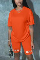 Fashion Casual Printed Pants Orange T-shirt Set