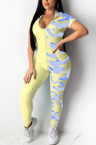 Sexy Patchwork Printed Yellow Skinny Jumpsuit