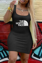 Fashion Sexy Print Black Sling Slim Dress