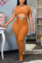 Fashion Sexy Cutout Brown Sling Jumpsuit