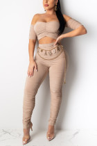 Sexy Off Shoulder Top Apricot Trousers Set (Without Belt)