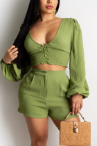Sexy V-neck Puff Sleeve Top Green Shorts Set