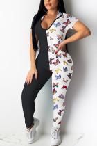 Sexy Patchwork Printed Black Skinny Jumpsuit