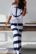 Fashion Sexy Print Top White Skirt Set