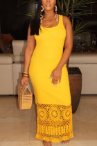 Fashion Hollow Yellow Sleeveless Long Dress