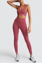 Sexy Fashion Sleeveless Rust Red Sports Set
