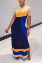 Fashion Casual Stitching Beige Long Dress
