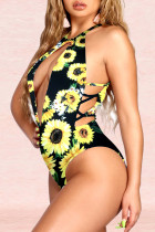 Sexy Fashion Printed Black One Piece Swimsuit