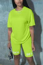 Fashion Casual Printed Pants Green T-shirt Set