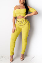 Sexy Off Shoulder Top Yellow Trousers Set (Without Belt)
