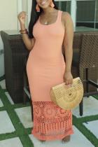 Fashion Hollow Pink Sleeveless Long Dress