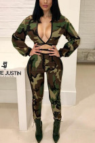 Fashion Sexy Camouflage Print Multicolor Two-piece Set