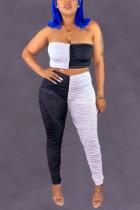 Sexy Fashion Stitching Black White Sleeveless Set