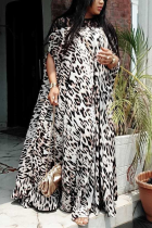 Fashion Casual Printed Leopard Lace Dress
