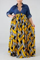 Fashion Stitching Retro Yellow Plus Size Dress