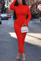 Fashion Sexy Print Red Turtleneck Dress