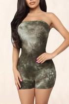Sexy Fashion Print Green Sleeveless Romper