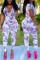 Fashion Short Sleeve Printed Colorful  V-neck Jumpsuit