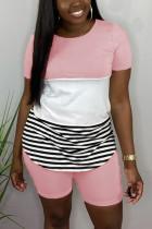 Fashion Striped Stitching T-shirt Pink Pants Set