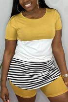 Fashion Striped Stitching T-shirt Yellow Pants Set