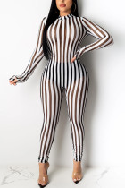 Sexy Striped Printed White Perspective Jumpsuit