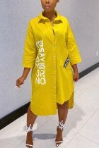 Casual Letter Printed Yellow Loose Shirt Dress