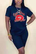 Fashion Casual Lip Print T-shirt Dark Blue Slim Set
