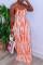 Sexy Fashion Printed Orange Halter Dress