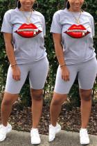 Fashion Casual Lips Print T-shirt Gray Shorts Set