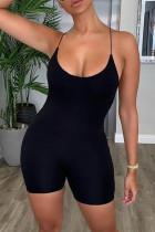 Sexy Backless Black Sling Slim Romper