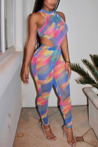 Fashion Sexy Printed Multicolor Off Shoulder Jumpsuit