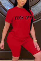 Fashion Letter Printed T-shirt Red Loose Set