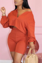 Fashion Casual Orange Shorts Two-piece Set