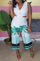 Fashion Sexy Printed White Sleeveless Jumpsuit