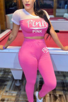Casual Mesh Patchwork Letter Printed Pink Set